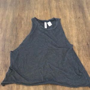 EUC XS H&M MUSCLE TANK TEE TOP DARK GRAY CUTE FIT